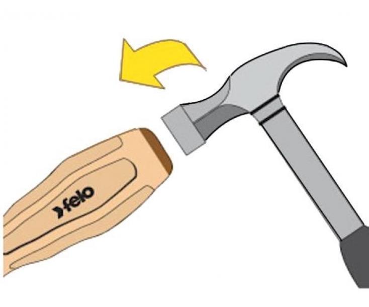 Отвертка Felo серия 337 крестовая Phillips PH2x100 ударная 33720390 с деревянной ручкой