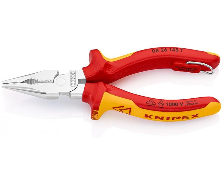 Пассатижи удлиненные VDE Knipex KN-0826145TBK со страховочным креплением