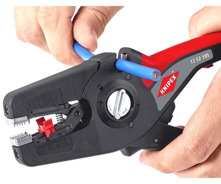 Автоматический стриппер PreciStrip16 с параболическими ножами Knipex KN-1252195SB в блистере