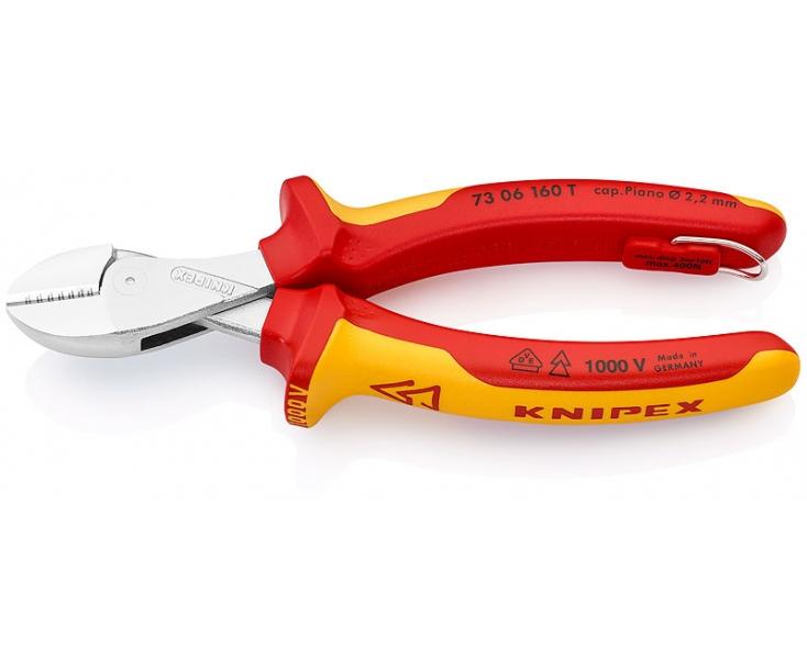 KNIPEX X-Cut VDE компактные кусачки боковые с высокой передачей усилия KN-7306160TBK со страховочным креплением