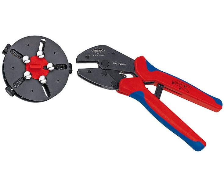 Обжимные клещи KNIPEX MultiCrimp с магазином для смены плашек и 3 профилями обжима KN-973301