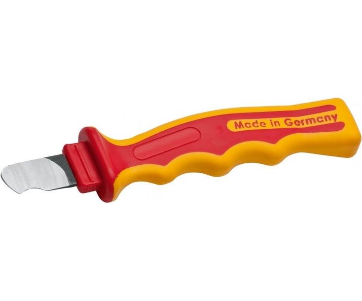 Нож VDE с прямым лезвием и шлифованным полукругом для полимерного кабеля 190 мм NWS 2041K с рукояткой SoftGripp