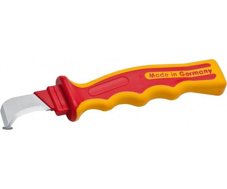 Нож VDE с изогнутым лезвием с пяткой 195 мм NWS 2043K с рукояткой SoftGripp и колпачком