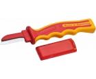 Нож VDE с толстым прямым частично изолированным лезвием 205 мм NWS 2044K с рукояткой SoftGripp и колпачком