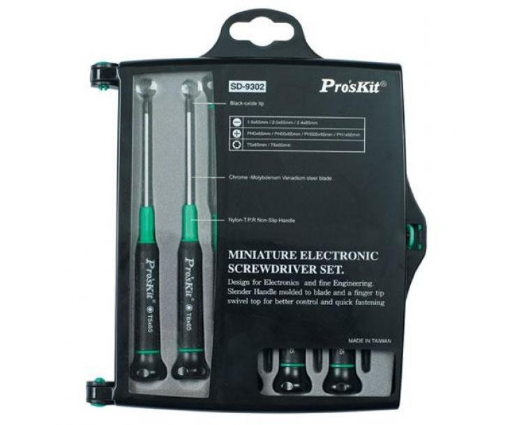 Набор прецизионных миниотверток ProsKit SD-9302 SL PH TX