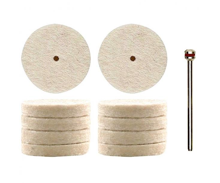 Насадки полировальные войлочные (диск Ø 22 мм) Proxxon 28798 10 шт.