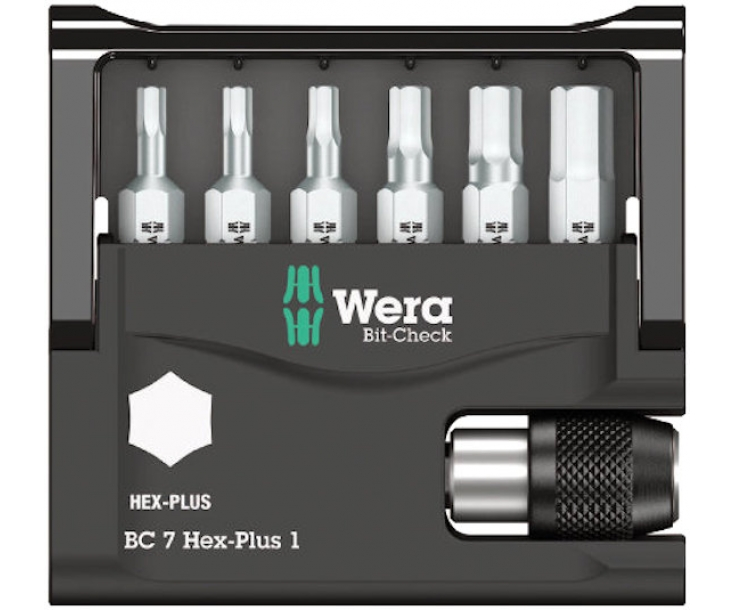 Bit-Check 7 Hex-Plus 1 Набор насадок Hex-Plus и держатель Wera WE-056168 7 пр.