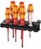 Набор отверток VDE + индикатор напряжения + подставка Wera Kraftform 160 iS/7 Rack WE-006480 с уменьшенным Ø рабочего конца