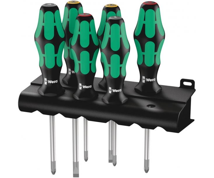 Набор отверток SL PH PZ Wera Kraftform Plus Lasertip 335/350/355/6 WE-105622 + подставка