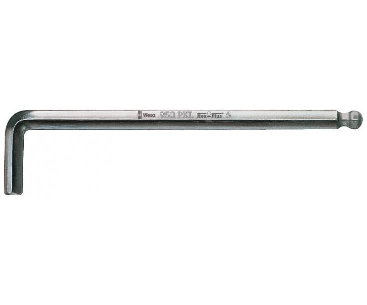 Г-образный ключ 4 мм, метрический, хромированный Wera 950 PKL WE-022058