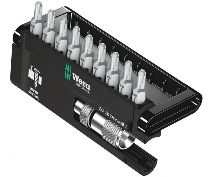 Bit-Check 10 Drywall 1 Wera Набор крестовых насадок для работы с гипсокартоном WE-136011