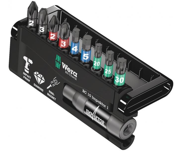 Bit-Check 10 Impaktor 1 Набор насадок (PH, PZ, TX, HEX) и держатель Wera WE-057680