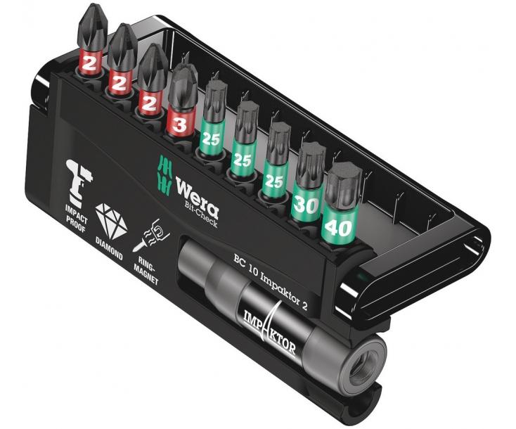 Bit-Check 10 Impaktor 2 Набор насадок (PH, TX) и держатель Wera WE-057682