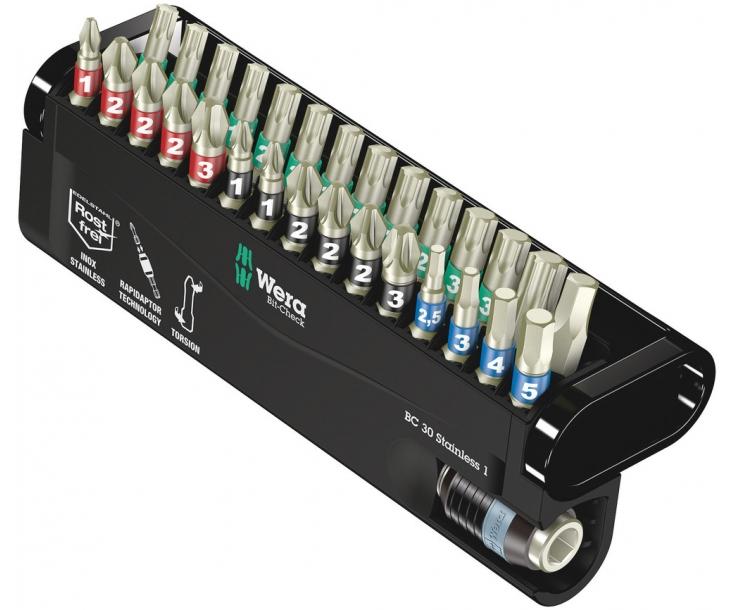 Bit-Check 30 Stainless 1 Набор насадок (PH, PZ, TX, HEX), нержавеющая сталь Wera WE-071109