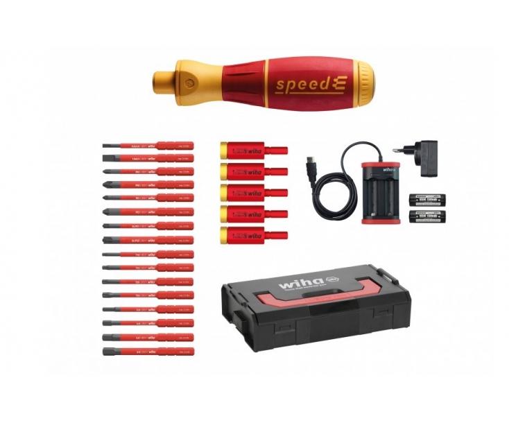 Диэлектрическая VDE отвертка speedE Set3 с электроприводом и битами Wiha 590 T103 41913, 42268 25 предметов
